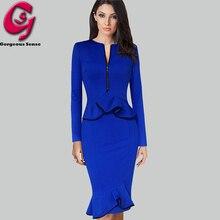 Women Peplum Ruffled Office Work Dress Long Sleeve Casual Bodycon Pencil Party Dresses Elegant Formal Ladies Clothes 2016 UK 3XL