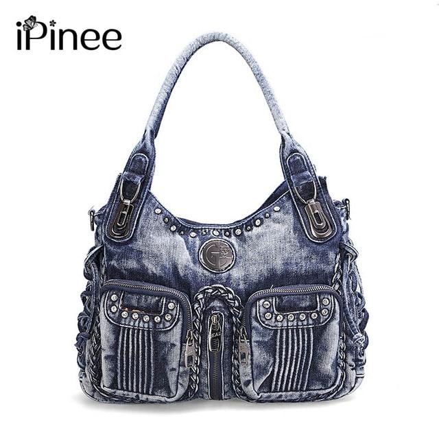 464c19d43dd8 iPinee 2018 Fashion Women Bag Denim Handbag Large Capacity Blue Shoulder  Bag Weave Women Messenger Bags