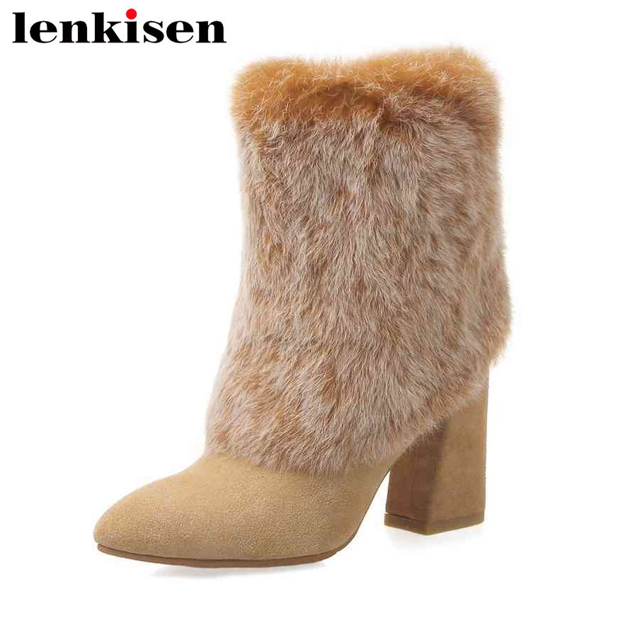 Lenkisen new fashion rabbit fur solid pointed toe lace up velvet thick high heels keep warm women winter ankle snow boots L83Lenkisen new fashion rabbit fur solid pointed toe lace up velvet thick high heels keep warm women winter ankle snow boots L83