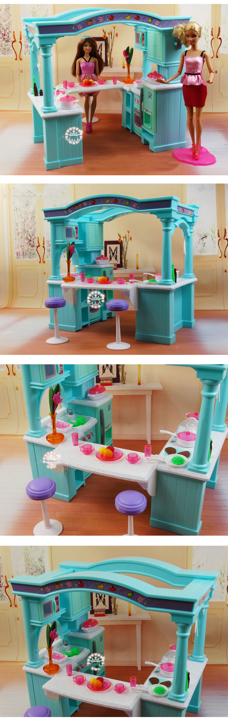 Multiple Functional Mega Kitchen For Barbie Dollhouse Furniture Big Size Diy Building Model Toy For Girl Cosplay Fun Accessories Dolls Accessories Aliexpress