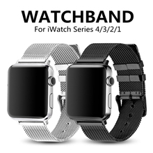 Fashion Sport Strap for Apple Watch 4/3/2/1 Stainless Steel Fine Lines Milanese Loop Watchband for Iwatch Band 44/40/42/38mm
