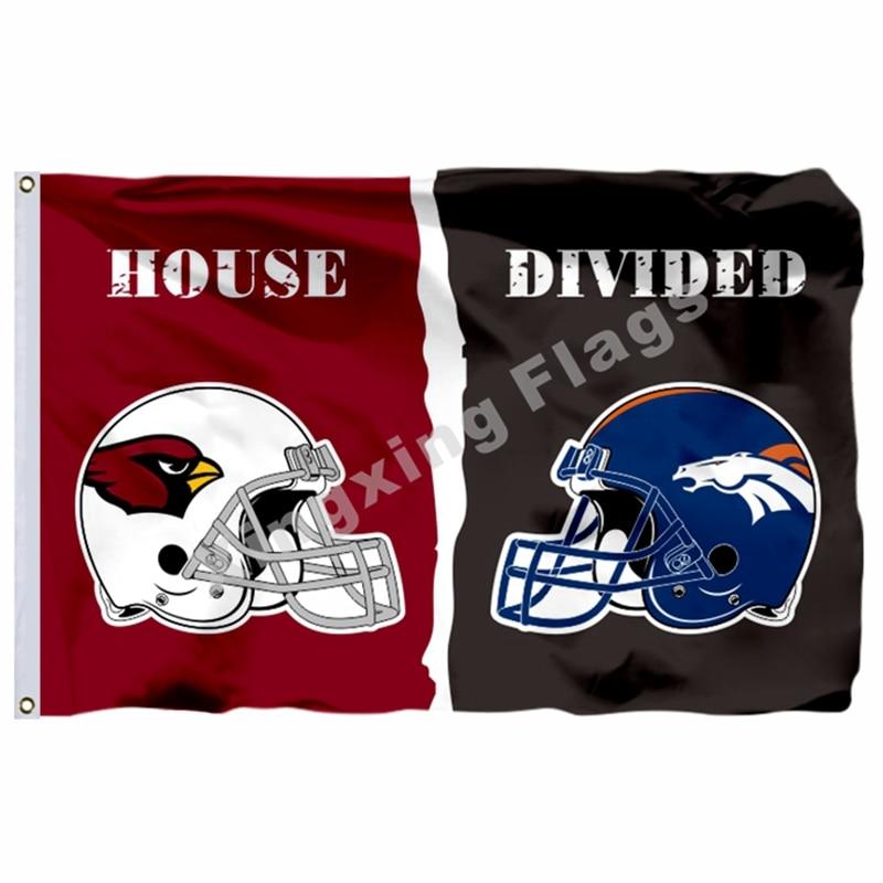 Arizona Cardinals Denver Broncos Helmets House Divided Flag 3ft X 5ft Polyester NFL1 Banner Size No.4 144*96cm Custom Flag