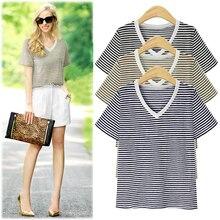 2019 new fashion T-shirt womens casual Harajuku style V-neck striped shirt Korean version of the oversized 5XL
