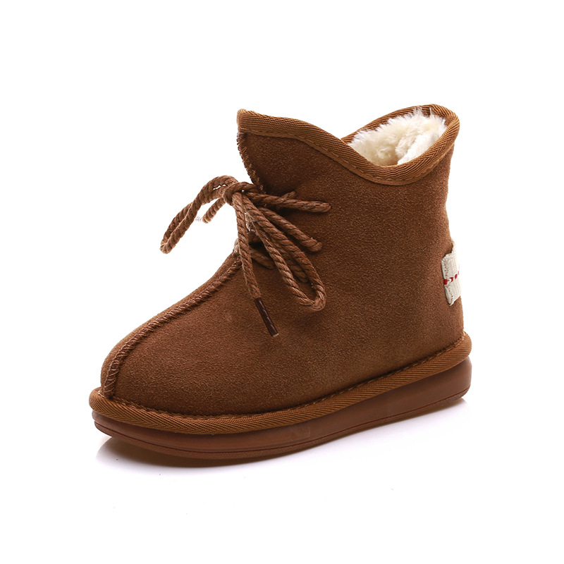 Soft Kids Shoes Winter Girls Boots Plush Genuine Leather Snow Boots for Boys Quality Children Sneakers Boys Boats babyfeet 2017 winter fashion warm plush high top genuine cow leather children ankle girls snow boots kids boys shoes sneakers
