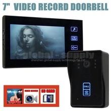 DIYSECUR Video Record 7 Inch Video Door Phone Intercom Doorbell Home Security Kit Touch Key Camera Monitor RFID Keyfobs SD Card