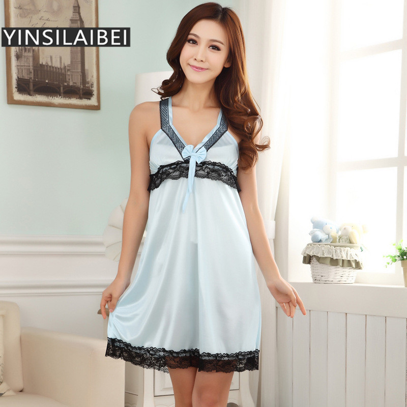 Summer Sleeveless Ice Silk Satin Nightgowns for Women  4ab48d983945