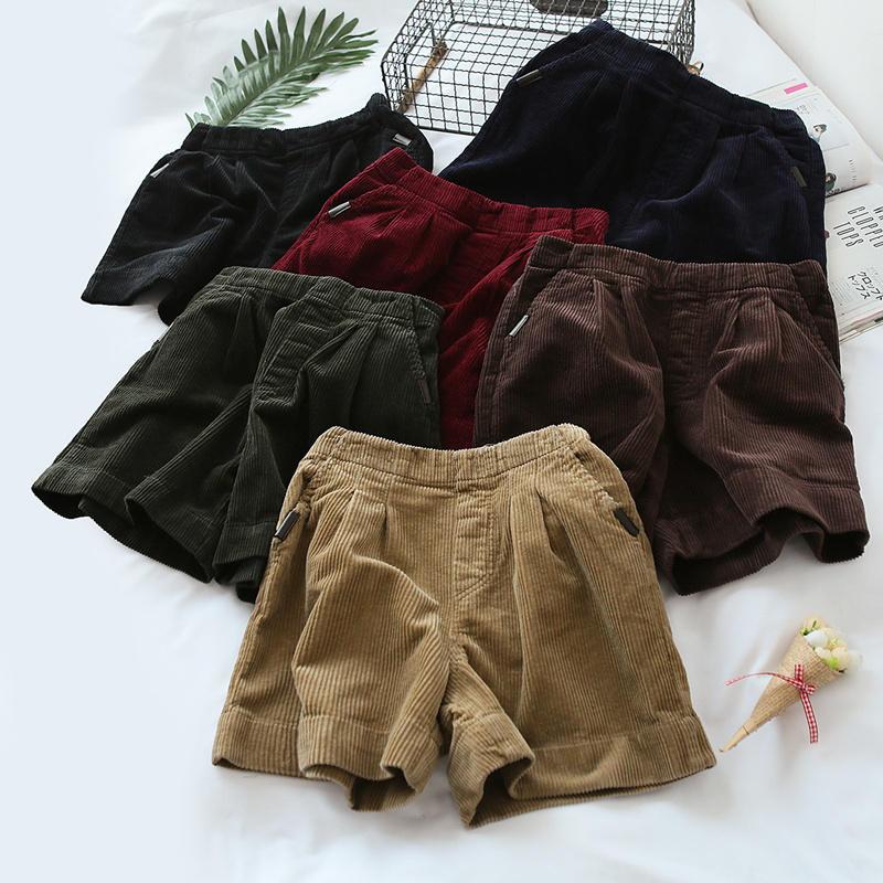 Black Corduroy Shorts Women Loose High Waist Autumn Winter Shorts Women Casual Warm Short Femme Corduroy Wide Leg Shorts C5169