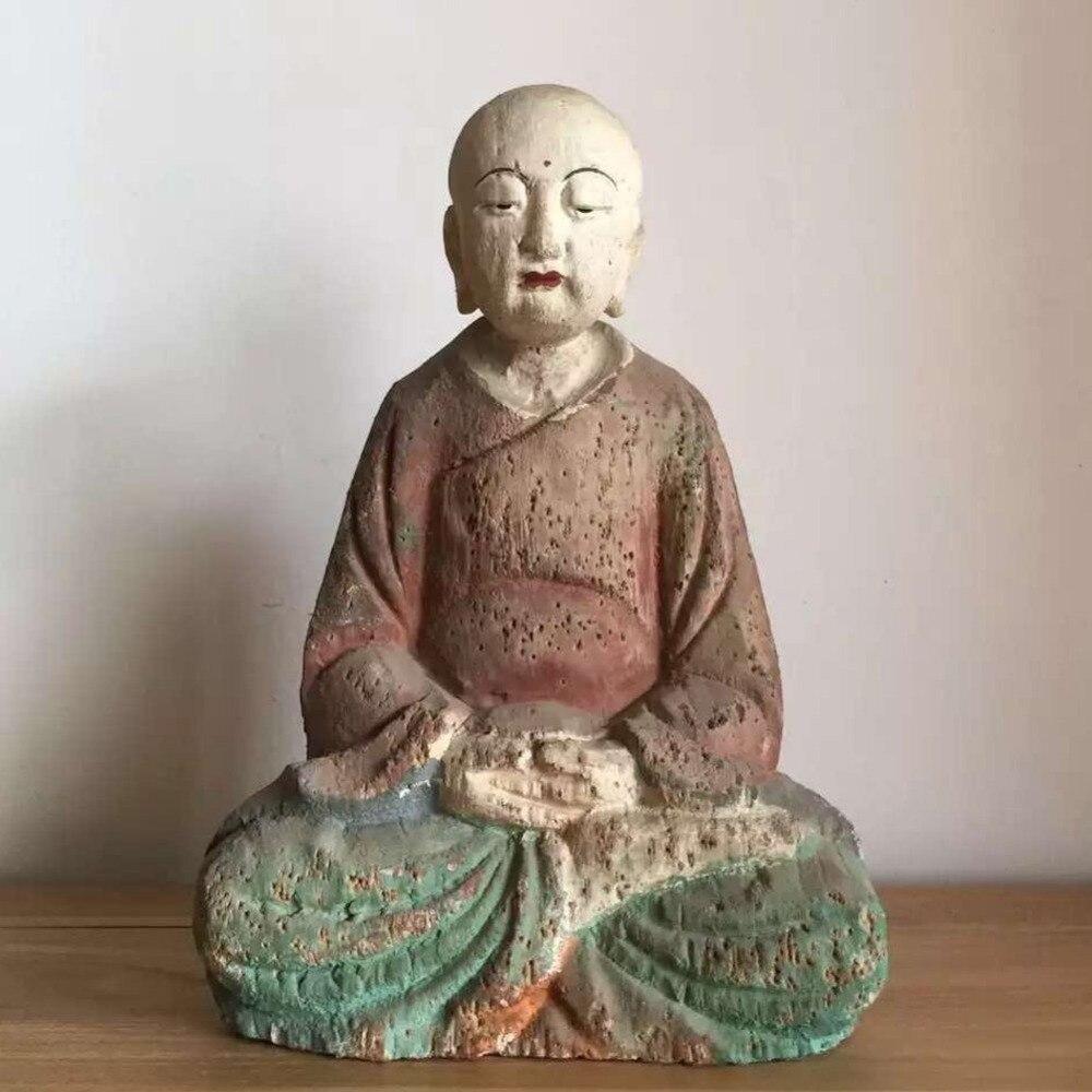 Collection de bouddha bouddhiste tibétain sculpté à la main Bodhisattva Sakyamuni bouddha sculpté statues de bouddha sculpture sur bois décoration de famille