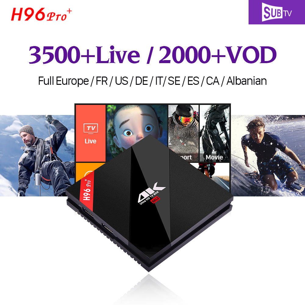 4K H96 PRO Plus Android 7.1 Smart IP TV Box S912 32GB SUBTV Code Subscription 3500 + IPTV Europe Arabic Turkish French IPTV Box full hd french iptv arabic brazil iptv box android 6 0 smart tv box subtv code subscription 3500 turkish albania ex yu iptv box