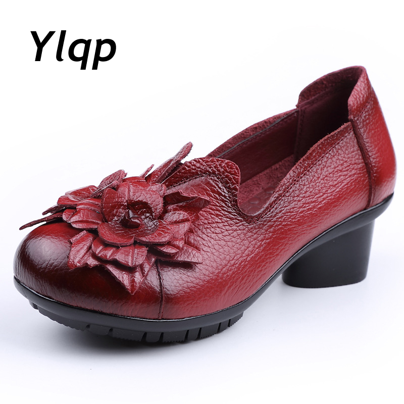New Arrival 2019 Women Autumn Spring Genuine Leather Low Thick Heels Shoes Handmade Vintage Flower Shoes Cowhide Woman Pumps