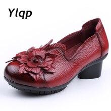 Nueva llegada 2019 las mujeres otoño Primavera de cuero genuino gruesas bajas zapatos de tacones Vintage hecho a mano flor zapatos de piel de vaca zapatos de mujer bombas