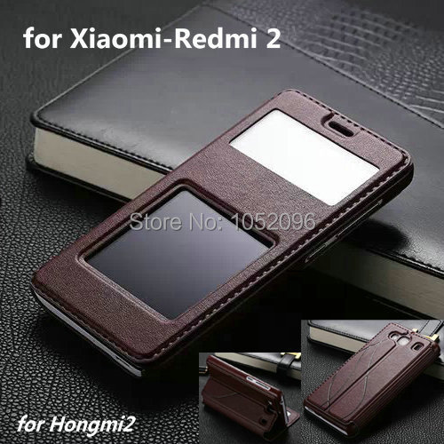 Luxury Case Xiaomi Redmi2 Red rice 2 / Hongmi 4.7 inch Flip Lamb Skin Two Window Leather Cover Cases Stand xiaomi redmi - HM Technology Co.,Ltd store
