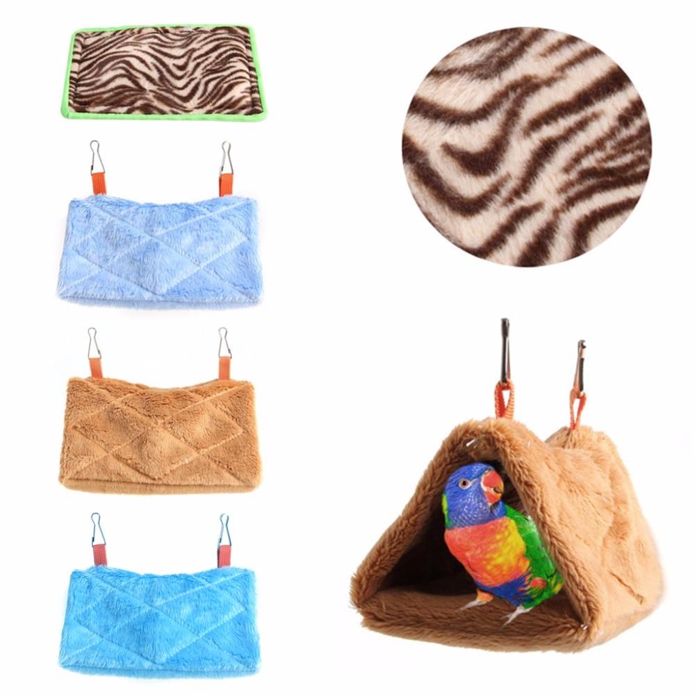 Plush Parrot Hammock Hanging Cage Cave Snuggle Soft Hut Tent Bed Bunk Bird Pad