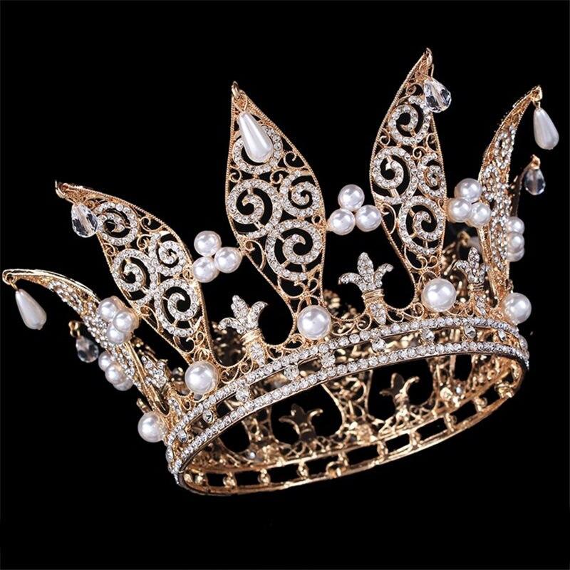 2018 Luxury Pearl Bride Wedding Party Crown Tiaras Vintage Full Crystal Big King Queen Crown Bridal Headbands Hair Accessories pearl king 150g