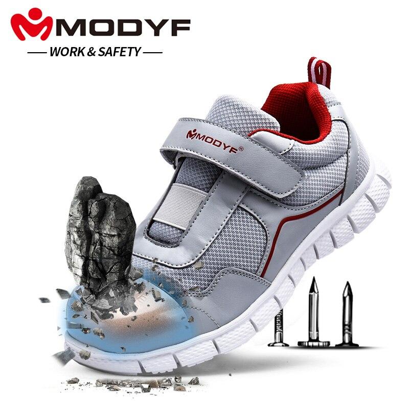 MODYF для мужчин сталь носком рабочая обувь Легкие дышащие повседневное мягкая подошва тапки Нескользящие проколов с Magic клейкие ленты