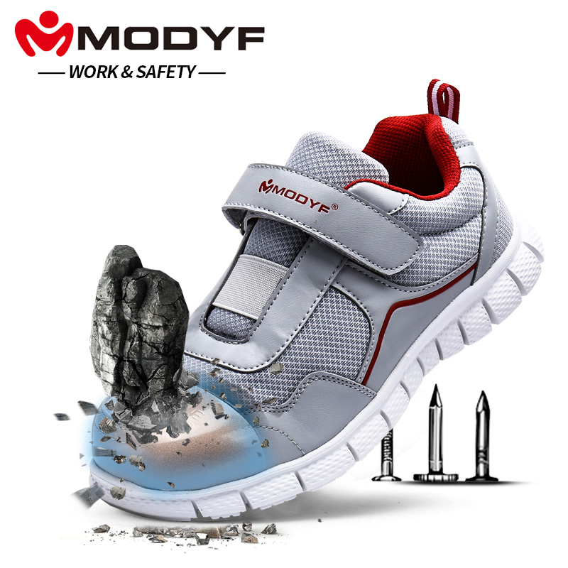 MODYF Men Steel Toe Work Safety Shoes Lightweight Breathable Casual Soft Sole Sneaker Non Slip Puncture Proof With Magic Tape france tigergrip waterproof work safety shoes woman and man soft sole rubber kitchen sea food shop non slip chef shoes cover