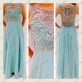 Envío Libre elegante Una Línea de Scoop Largo Crystal Vestidos de Baile 2015 Azul Vestidos de Graduación Con Cuentas Transparentes vestidos de fiesta por la Noche Larga