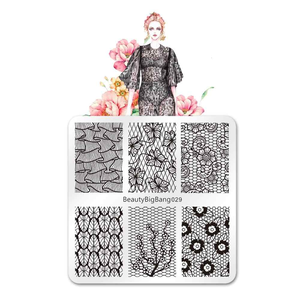 BeautyBigBang Nail stamping Plates 029 lace flower theme square plate nail art printing plate decoration +FL0045-1A