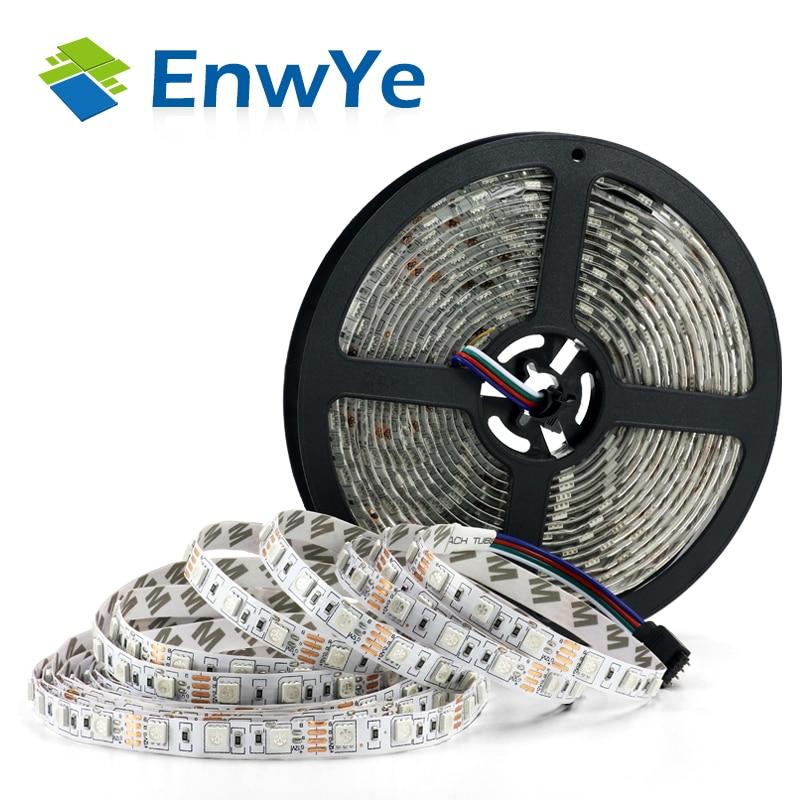 EnwYe 5M 300Led RGB impermeable tira de luz 3528 5050 DC12V 60 Leds/M luz Fiexble cinta Led lámpara de decoración del hogar