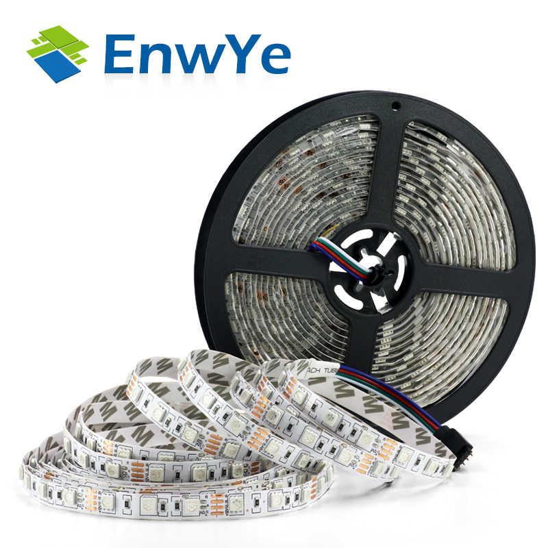 EnwYe 5M 300Led RGB impermeable tira de luz 3528 5050 DC12V 60Leds/M luz Fiexble cinta Led lámpara de decoración del hogar