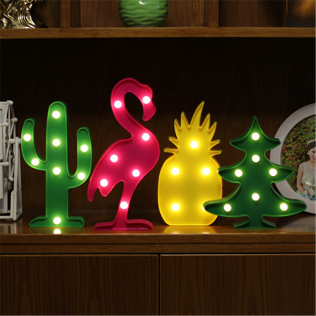 hot sale flamingo pineapple cactus christmas tree led modeling lights christmas room home decoration desk ornament