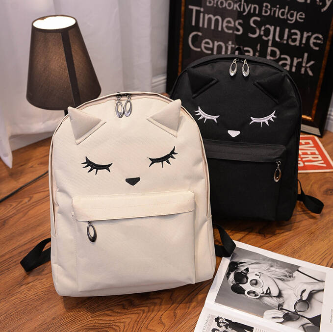 Cute Cartoon Embroidery Cat Printing Backpack Canvas Backpacks For ...