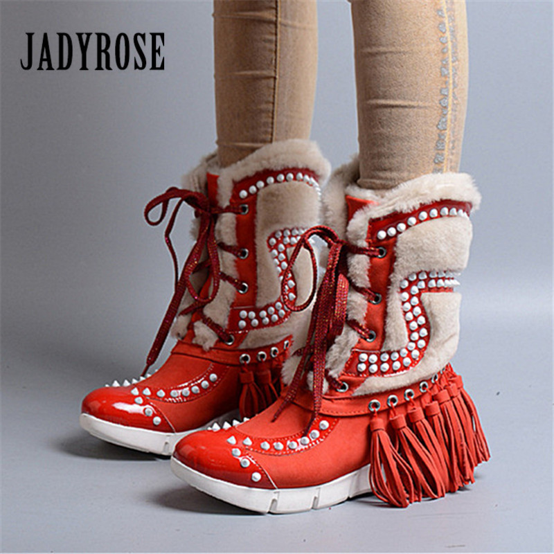 Jady Rose 2018 New Women Winter Warm Snow Boots Fringed Rivets Lace Up Fur Boots Female Platform Botas Mujer Flat Shoes Woman jady rose women mid calf boots rose red vinatge riding boots lace up flat shoes woman platform botas militares rivets long boot