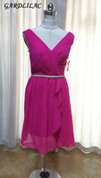 Gardlilac Chiffon V neck Short Bridesmaid Dress Sleeveless Fuchsia Wedding Party Dress A Line Real Vestido madrinha