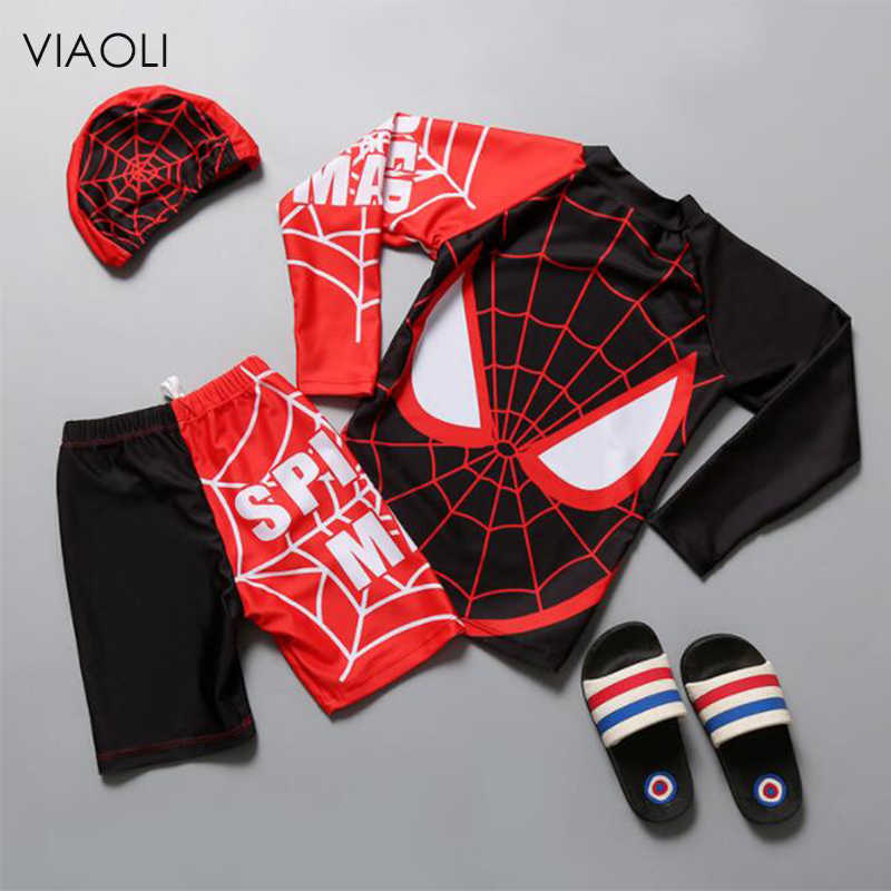 1cdefddbed Spider Print Boys Long Sleeve Swimwear Summer Baby Kids Swimsuit 3 Pieces Suits  2018 Beach Surfing
