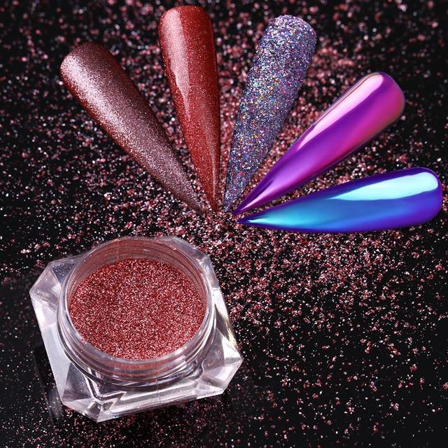 Unicornio holográfico neón Brillos de uñas Chameleon sirena púrpura ...