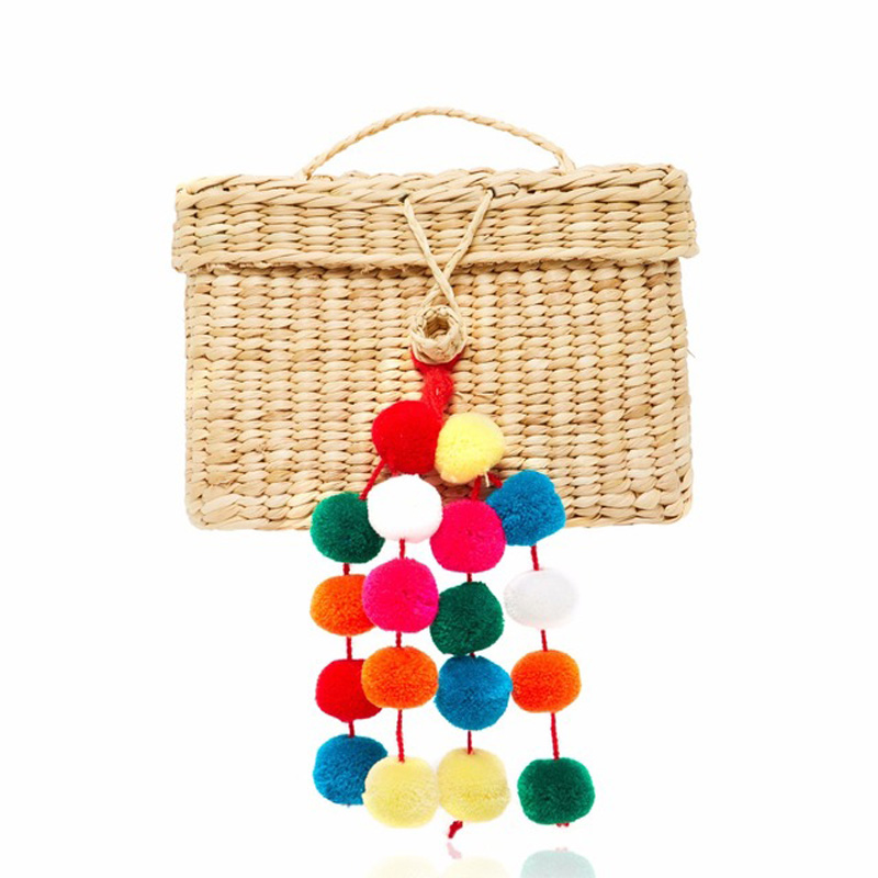 Summer Travel Handbags retro Basket Bag leisureTote Hair ball lace oheBmian Beach Bag for Women Handmade pompom Straw Bags rerekaxi new bohemian beach bag for women cute handmade straw bags summer grass handbags drawstring basket bag travel tote