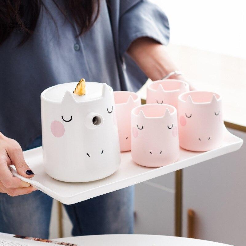 Encantador Dos Desenhos Animados do Unicórnio Conjunto Terno 3d Tridimensional Animais Xícara de Café xícara de Cerâmica Xícara de Água Prático Presente de Negócios - 2
