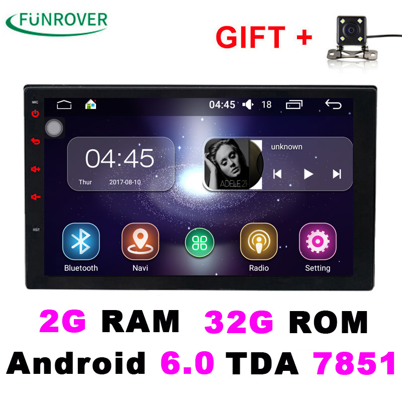 2 Double Din Universal Car Radio dvd player Stereo 2G+16G 7 Inch Android 6.0 In-dash Autoradio gps navigation Quad-Core BT FM