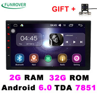 2 Double Din Universal Car Radio dvd player Stereo 2G+32G 7 Inch Android 6.0 In-dash Autoradio gps navigation Quad-Core BT FM