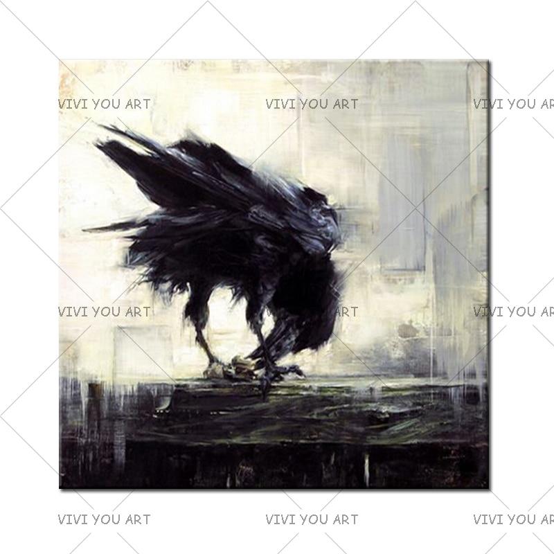 Corvo Corvo Pássaro Preto Pintura A Óleo do Pássaro para a Decoração