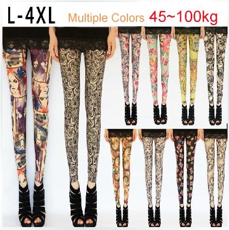 5c590a1e90c8a 2013 Summer Autumn Elastic Milk Silk Printed Ankle Length plus size Leggings  for women XL XXL XXXL Free Shipping