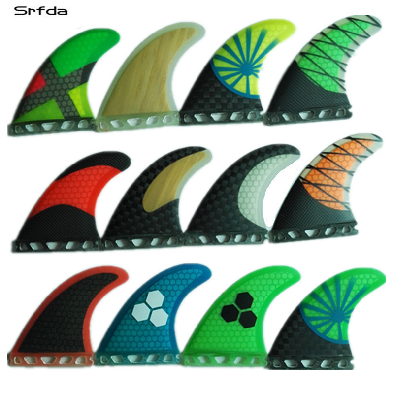 Srfda Fiberglass And Honeycomb Green Blue SUP Surfboard Fin Thruster For Future Box Surf Fins Size M/G5 Fins Top Qual