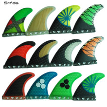 Surfboard-Fin Future-Box Fiberglass Thruster SUP Size-M/g5-Fins Srfda Blue Green And