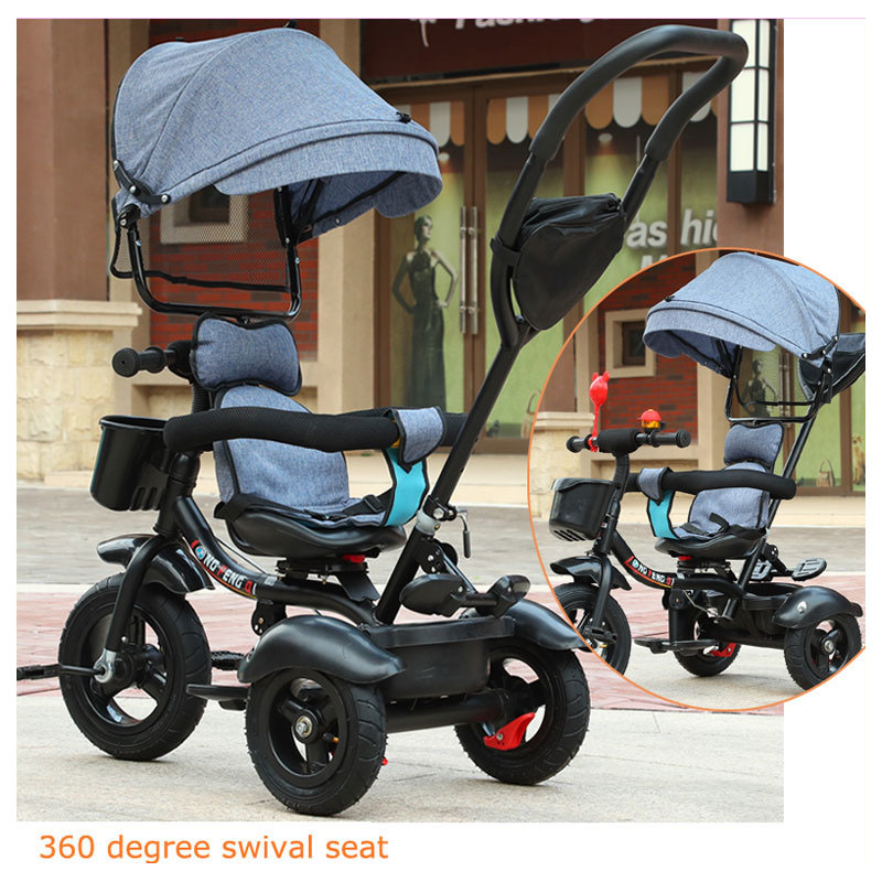 Swivel Seat Baby Tricycle Bike Children Bicycle Stroller Trolley Three 3 Wheel Baby Carriage Child Pram Buggy Pushchair 6M~5Y children tricycle twins baby stroller double three wheel bike stroller swivel seat pram pushchair changing sunshade bicycle