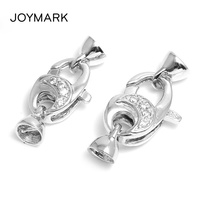 JOYMARK High Quality 925 Sterling Silver Micro Pave Zircon Lobster Clasps With End Cap For Pearl Necklace And Bracelet SC CZ054