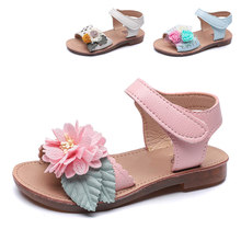 Girls Sandals 2019 New Arrival Summer Soft Soles Princess Toddler Baby Shoes Fashion Flowers Beach Children Shoes Kids Sandals(China)