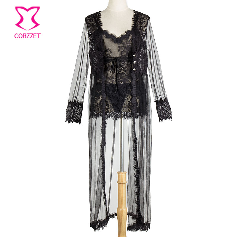 Black Transparent Floral Lace Camisole and Shorts With Long Robe Erotic Lingerie Set Sexy Sleepwear Women Nightwear