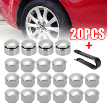 Mayitr 20pcs 17mm Silver Car Wheel Nut Caps Auto Hub Screw Cover+Removal Tool Set For Ford Peugeot Citroen
