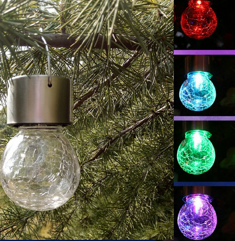 4pcs Lot Outdoor Solar Hanging Led Light Crackle Glass