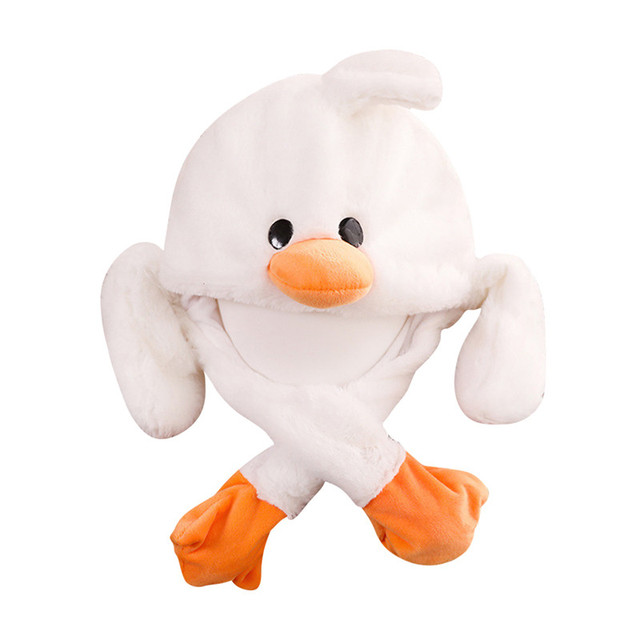 Cute Plush Moving Ear Yellow Duck Hat Hand Pinching Airbag Magnet Ear To Move Vertical Ears Cap Cute Animal Plush toy