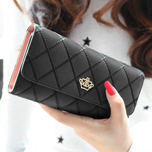 Women Wallet Clutch Bag Vintage Crown Wallets Girls ID Card Holder Embellishment Plaid Purse Phone Case Money Bag