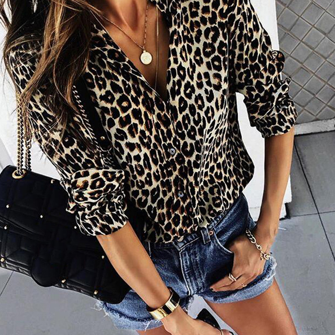 Button-down shirt Fashion Women Long Sleeve V-Neck Leopard Print Button Turn-down Collar Shirt
