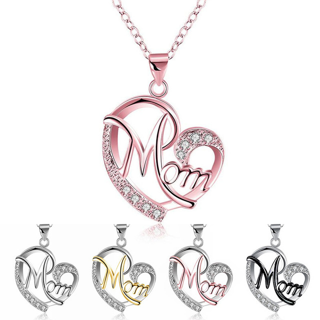Mother's Day Pendants Gift Fashion Heart Shape Letter Mom Pendant Necklace Mom Jewelry