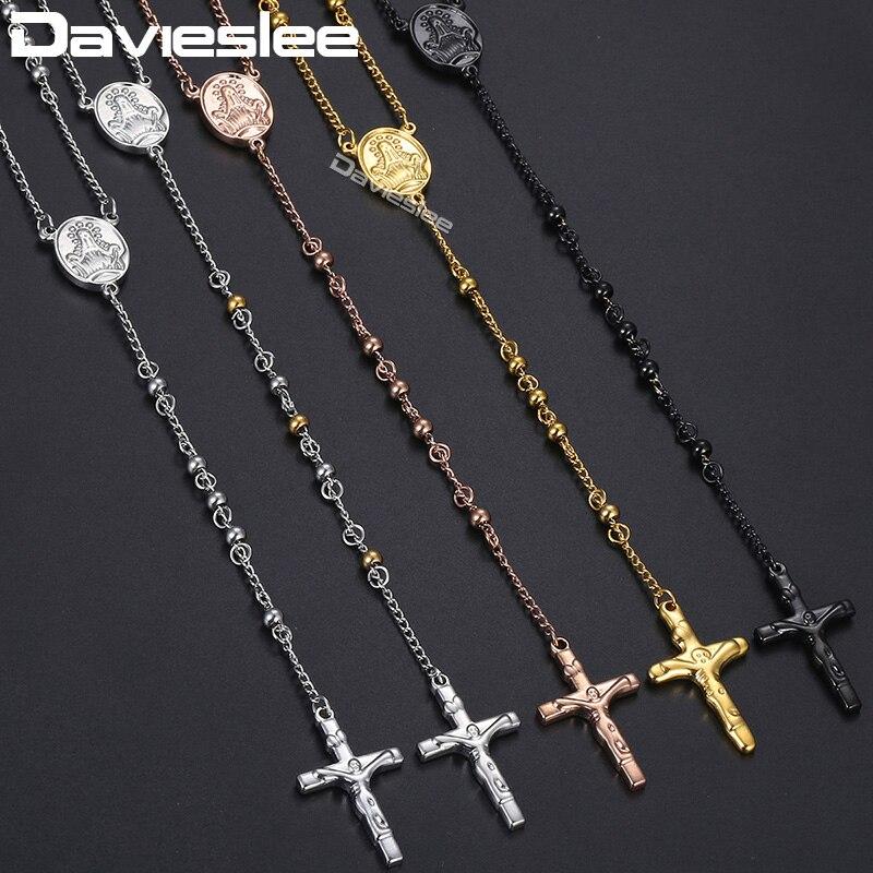 515804314ecf Davieslee hombre Rosario Necklacce larga cadena de cuentas de la corona de  Jesús colgante de cruz de plata tono de oro de acero inoxidable 4 6  8 10mm  ...
