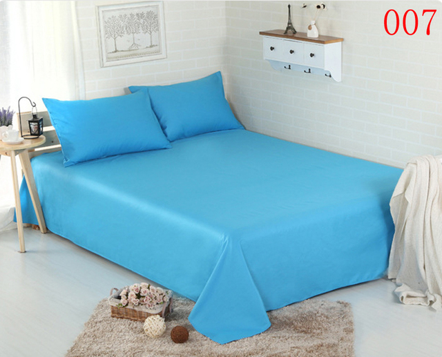 Attractive Solid Sky Blue Home Cotton Single Double Flat Bed Sheets Twin Full Queen  King Bed Sheet